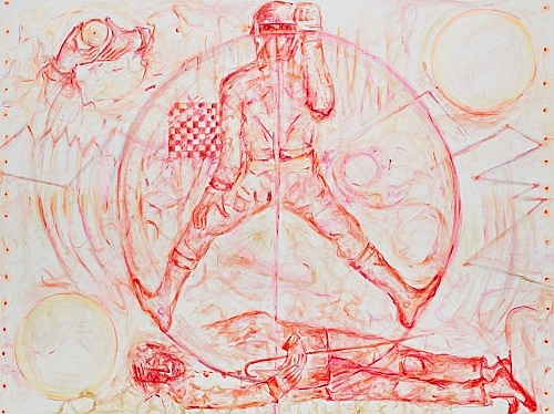 "Jutta Koether – ""Formula Won Balthus, PdF #3"", 2016 oil on canvas 190 x 250 cm"