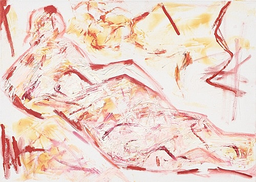 """Jutta Koether – """"Untitled (from the series 'Zodiac Nudes')"""", 2016 oil on canvas 50 x 70 cm"""