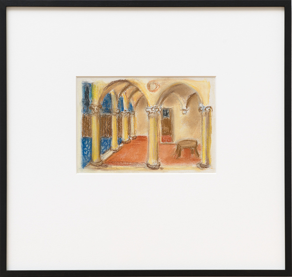 """Mayo Thompson – """"Portico after Fra Angelico (Guido de Pietro)"""", 2016 pastel on paper 30 x 30 cm"""