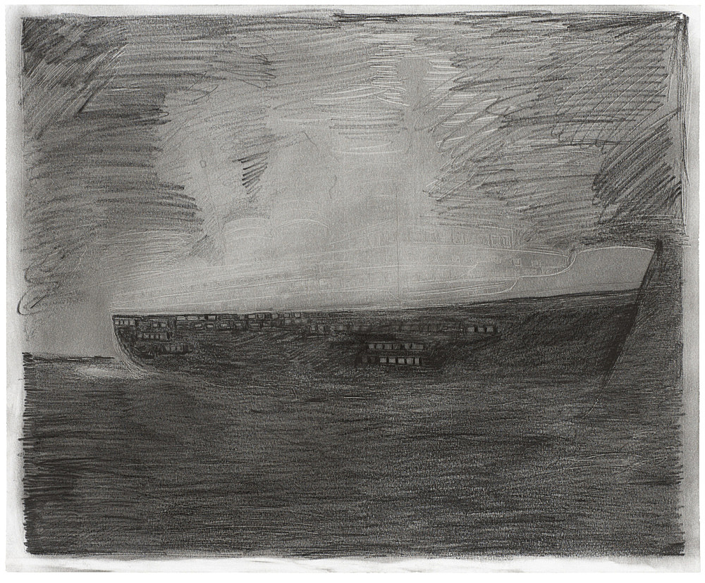 "Mayo Thompson – ""S.S. Princess Irene"", 2016 pencil and charcoal on paper 35.5 x 43 cm"