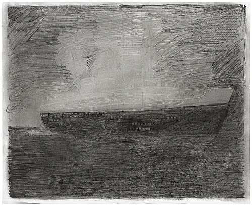 """Mayo Thompson – """"S.S. Princess Irene"""", 2016 pencil and charcoal on paper 35.5 x 43 cm"""