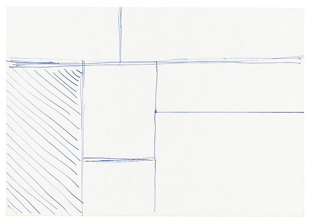 """Michael Krebber – """"Untitled (Flat Finish 8)"""", 2016 pen on paper 14.5 x 21 cm (framed: 41.5 x 33.5 cm)"""