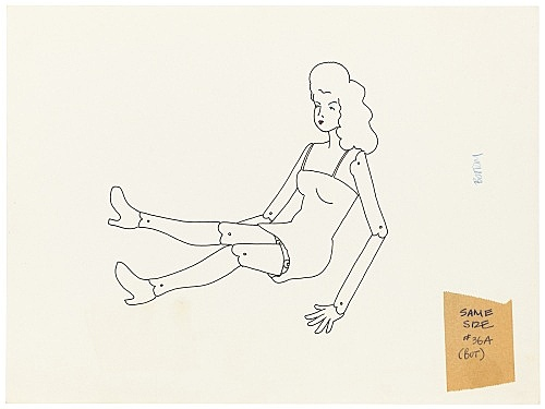 """Mayo Thompson – Drawing for """"Rangoon"""", 1970 ink, pencil and colour pencil on paper, ballpoint pen on masking tape 22 x 30 cm"""