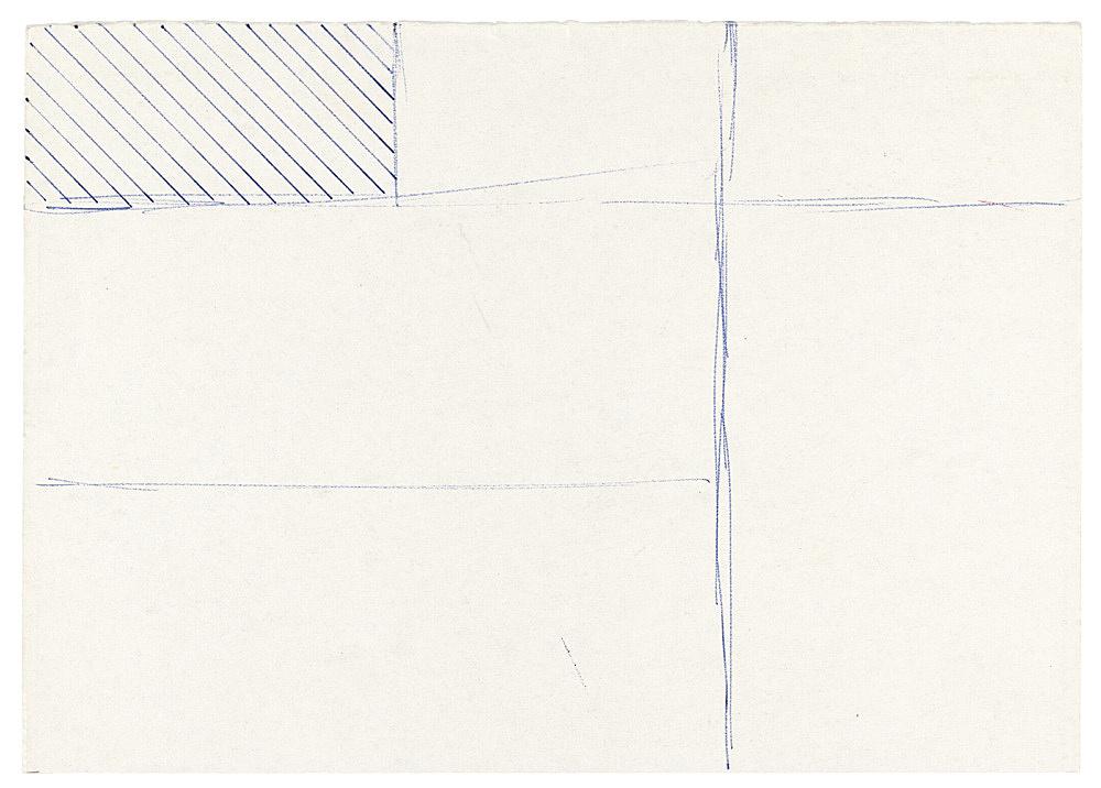"""Michael Krebber – """"Untitled (Flat Finish 10)"""", 2016 pen on paper 15 x 21 cm (framed: 41.5 x 33.5 cm)"""