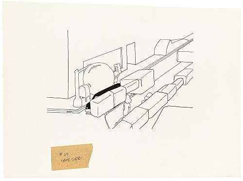"""Mayo Thompson – Drawing for """"Rangoon"""", 1970 ink and pencil on paper, ballpoint pen on masking tape 30 x 22 cm"""