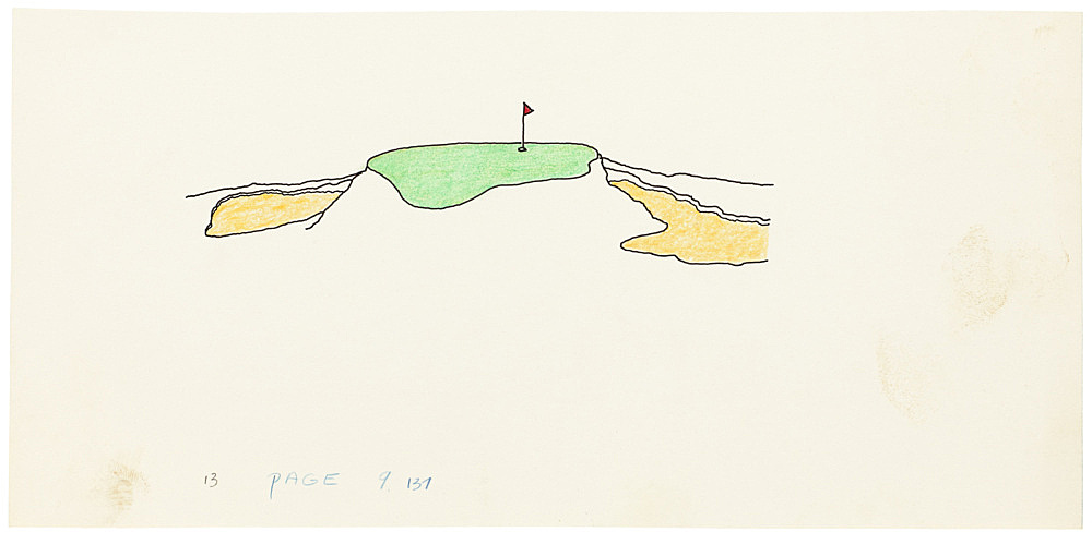 "Mayo Thompson – Drawing for ""Rangoon"", 1970 ink, pencil and colour pencil on paper 13 x 27.5 cm"