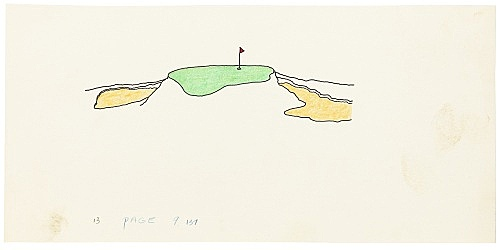 """Mayo Thompson – Drawing for """"Rangoon"""", 1970 ink, pencil and colour pencil on paper 13 x 27.5 cm"""