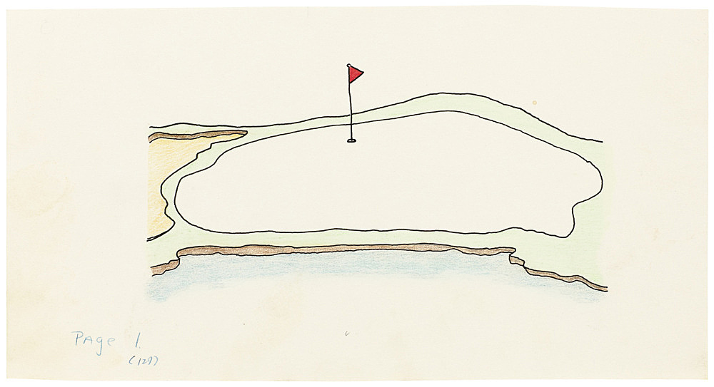 "Mayo Thompson – Drawing for ""Rangoon"", 1970 ink, pencil and colour pencil on paper 12 x 23 cm"