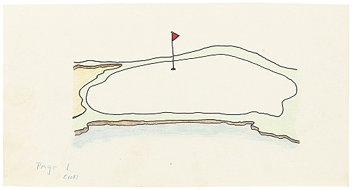 """Mayo Thompson – Drawing for """"Rangoon"""", 1970 ink, pencil and colour pencil on paper 12 x 23 cm"""