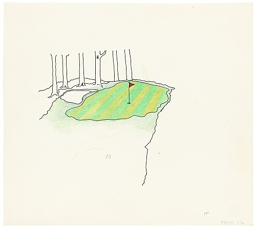 """Mayo Thompson – Drawing for """"Rangoon"""", 1970 ink, pencil and colour pencil on paper 24.5 x 27.5 cm"""