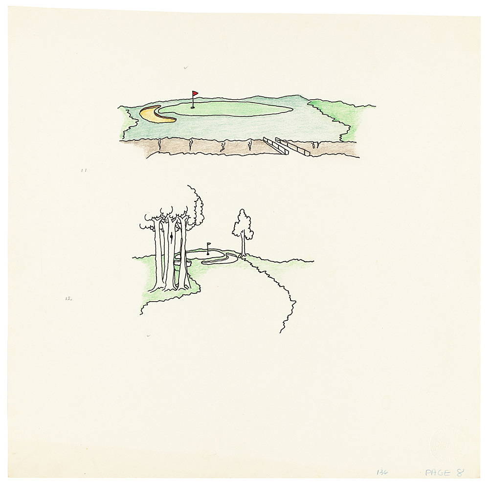 "Mayo Thompson – Drawing for ""Rangoon"", 1970 ink, pencil and colour pencil on paper 27.5 x 27.5 cm"