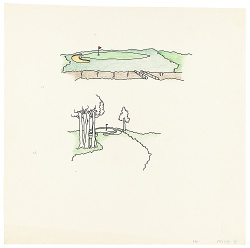 """Mayo Thompson – Drawing for """"Rangoon"""", 1970 ink, pencil and colour pencil on paper 27.5 x 27.5 cm"""