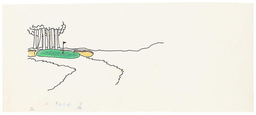 "Mayo Thompson – Drawing for ""Rangoon"", 1970 ink, pencil and colour pencil on paper 11.5 x 27.5 cm"