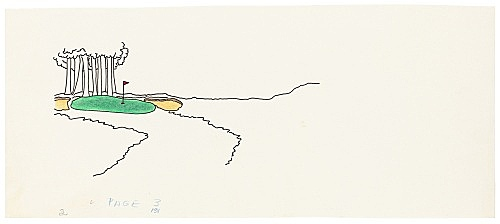 """Mayo Thompson – Drawing for """"Rangoon"""", 1970 ink, pencil and colour pencil on paper 11.5 x 27.5 cm"""