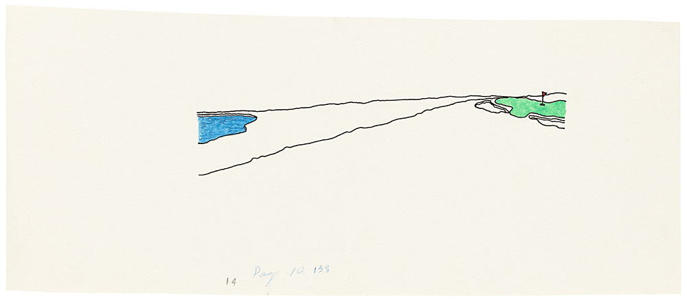 "Mayo Thompson – Drawing for ""Rangoon"", 1970 ink, pencil and colour pencil on paper 10.5 x 27.5 cm"