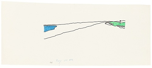 """Mayo Thompson – Drawing for """"Rangoon"""", 1970 ink, pencil and colour pencil on paper 10.5 x 27.5 cm"""