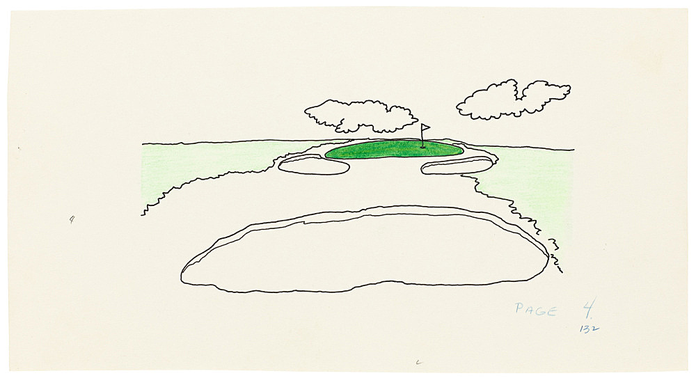 "Mayo Thompson – Drawing for ""Rangoon"", 1970 ink, pencil and colour pencil on paper 12.5 x 23.5 cm"