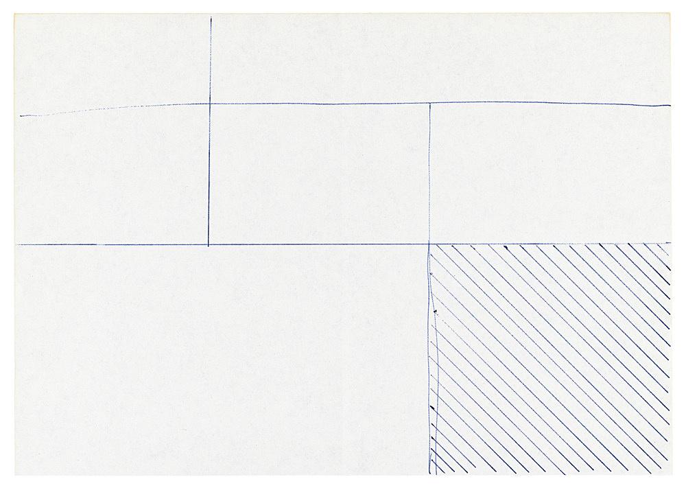 """Michael Krebber – """"Untitled (Flat Finish 15)"""", 2016 pen on paper 15 x 21 cm (framed: 41.5 x 33.5 cm)"""
