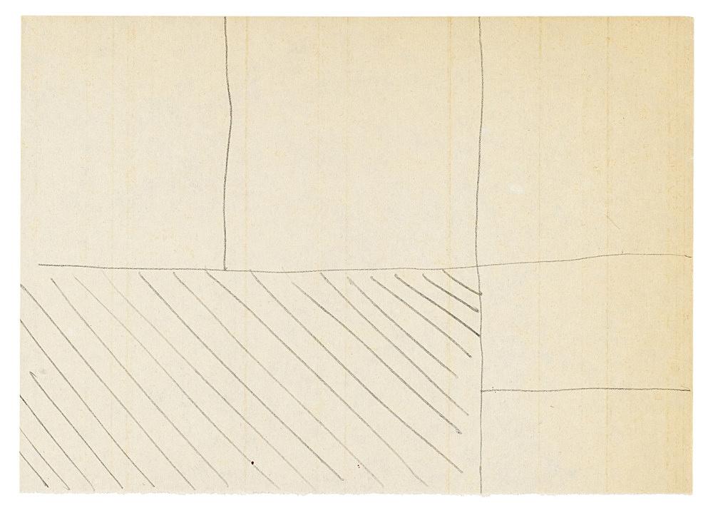 "Michael Krebber – ""Untitled (Flat Finish 22)"", 2016 pencil on paper 10.5 x 14.5 cm (framed: 41.5 x 33.5 cm)"