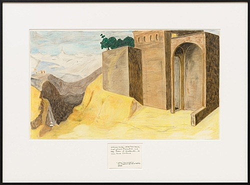 """Mayo Thompson – """"Chiana Valley, Lake Tresimeno, Castiglioni Fiorentino, and The Tower of Monterchi, as seen from Cortona — after 'The Visitation' Fra Angelico (Guido di Pietro) 1433/4"""", 2016 coloured pencil on paper with handwritten label, ink 56 x 77 cm"""