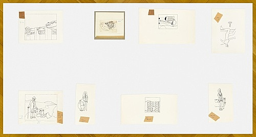 """Mayo Thompson – Drawings for """"Rangoon"""", 1970 Table 1, installation view Galerie Buchholz, Berlin 2016"""