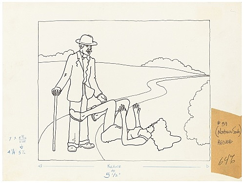 """Mayo Thompson – Drawing for """"Rangoon"""", 1970 ink, pencil and colour pencil on paper, ballpoint pen on masking tape 22.5 x 30 cm"""