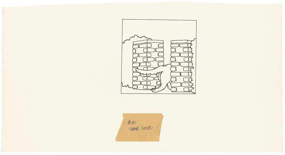 "Mayo Thompson – Drawing for ""Rangoon"", 1970 ink and pencil on paper, ballpoint pen on masking tape 20 x 38.5 cm"