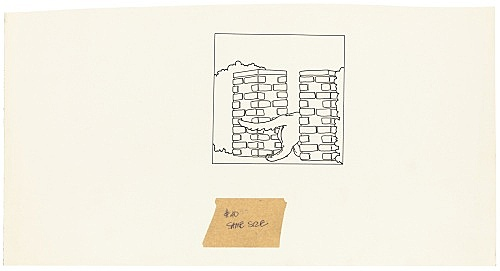 """Mayo Thompson – Drawing for """"Rangoon"""", 1970 ink and pencil on paper, ballpoint pen on masking tape 20 x 38.5 cm"""