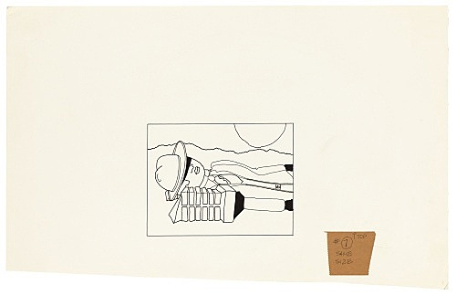 """Mayo Thompson – Drawing for """"Rangoon"""", 1970 ink and pencil on paper, ballpoint pen on masking tape 38.5 x 24.5 cm"""