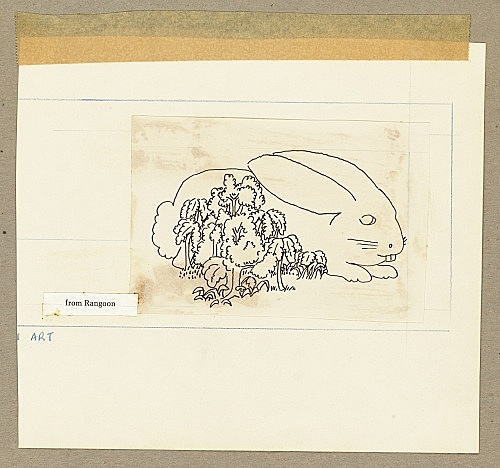 """Mayo Thompson – Drawing for """"Rangoon"""", 1970 ink and pencil on paper, collage, masking tape, cardboard 16.5 x 18.5 cm"""