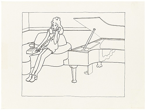 """Mayo Thompson – Drawing for """"Rangoon"""", 1970 ink and pencil on paper 22.5 x 30 cm"""