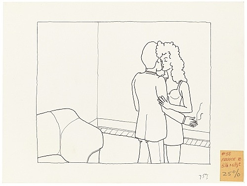 """Mayo Thompson – Drawing for """"Rangoon"""", 1970 ink and pencil on paper, ballpoint pen on masking tape 22.5 x 30 cm"""