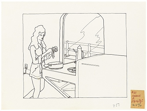 """Mayo Thompson – Drawing for """"Rangoon"""", 1970 ink and pencil on paper, ballpoint pen on masking tape 22 x 30 cm"""