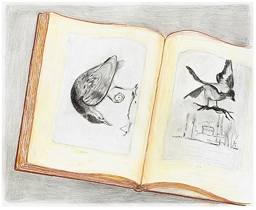 """Mayo Thompson – """"Two Pages from 'Das Beispiel Courbet' Louis Aragon"""", 2016 coloured pencil on paper 43.5 x 35 cm"""