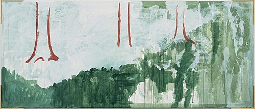 "Michael Krebber – ""Wald"", 1997 acrylic on canvas 136 x 320 cm"