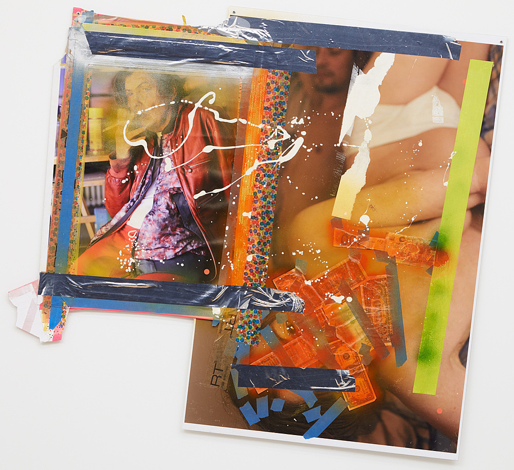 Isa Genzken – Untitled, 2016 paper, spray paint, sticker, metallic tape, paper tape, plastic tape, photographs, acrylic paint, bank notes and plastic foil 93 x 95 cm