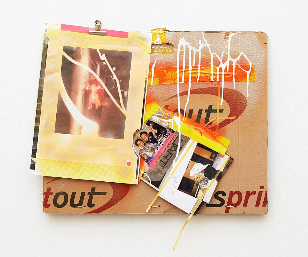 Isa Genzken – Untitled, 2016 cardboard folder, photographs, spray paint, acrylic paint, bull clip, plasic tape, pen, plastic zip ties, stickers, bubble wrap and plastic foil 65 x 70 cm