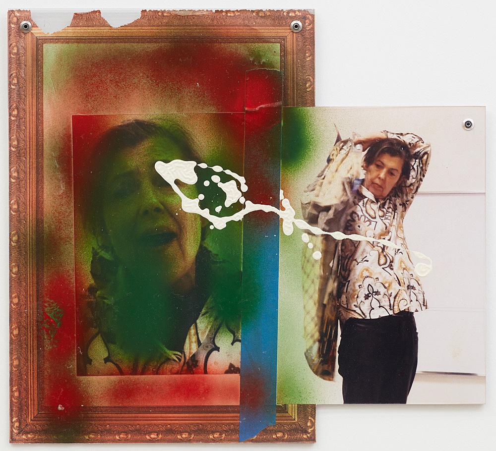 Isa Genzken – Untitled, 2016 spray paint, photograph, acrylic paint, felt-tip pen, paper tape and plastic foil 29.5 x 32.5 cm