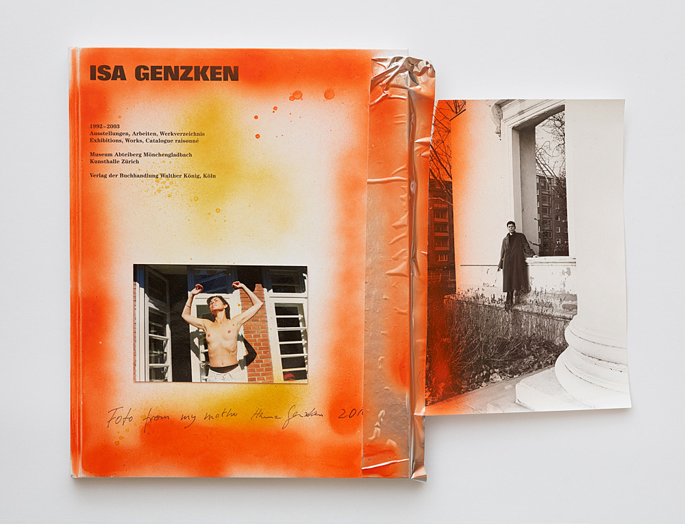 Isa Genzken – Untitled, 2016 book, photograph, spray paint, pencil, metallic tape and plastic foil 32.5 x 42 cm