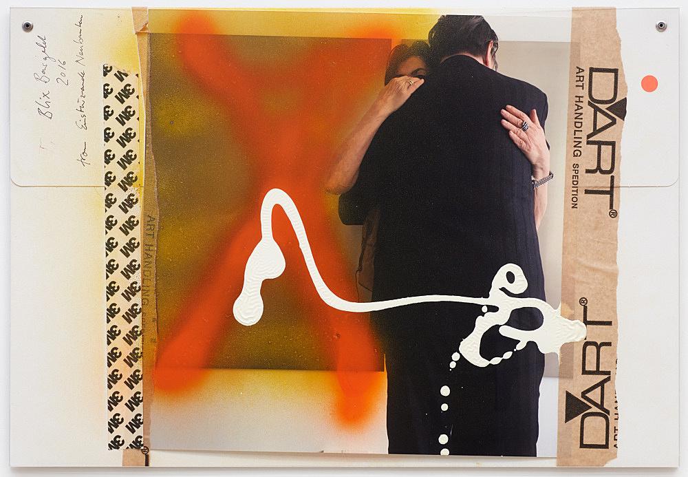 Isa Genzken – Untitled, 2016 cardboard folder, photograph, spray paint, acrylic paint, paper tape, pen, sticker and plastic foil 32 x 46.5 cm