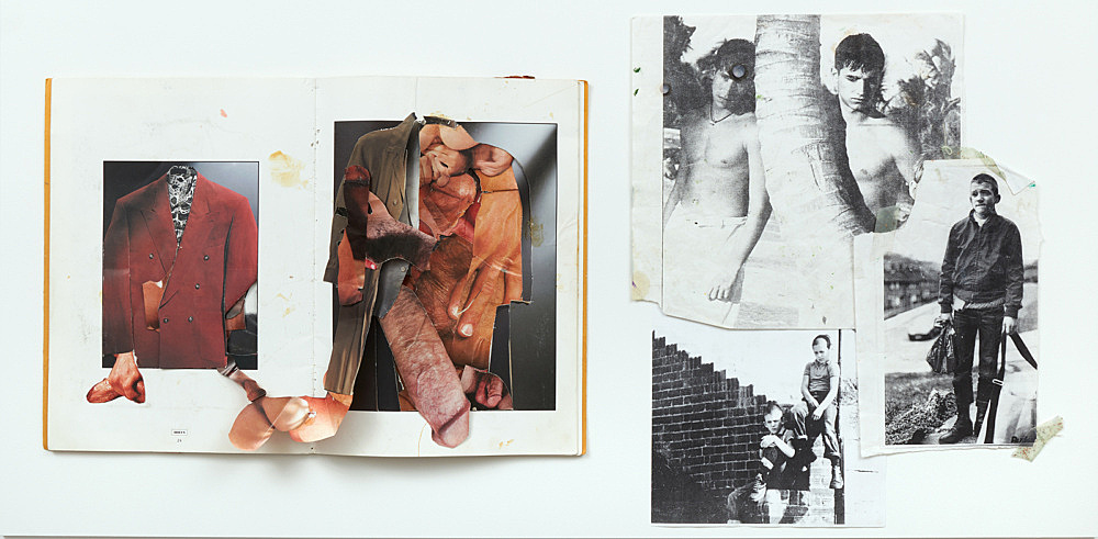 Jochen Klein – Untitled, 1992 collaged artist book, 30 pages 33.5 x 24 cm & Image material from Jochen Klein's studio, n.d. 28.3 x 29.4 cm; 26 x 16.4 cm; 29.7 x 21 cm