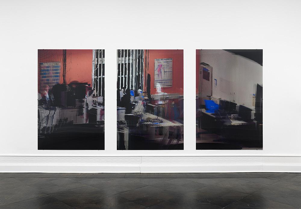 "Loretta Fahrenholz – ""kbo-Isar-Amper-Klinikum, Labor II (kbo Isar-Amper Clinic, Lab II)"", 2017 digital print on lenticular foil 3 parts, each 175 x 116,5 cm installation view Galerie Buchholz, Berlin 2017"