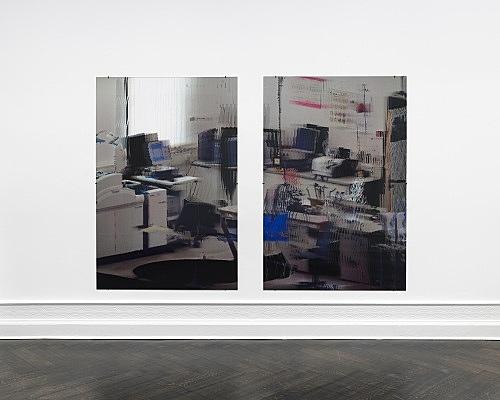 """Loretta Fahrenholz – """"kbo-Isar-Amper-Klinikum, Labor III (kbo Isar-Amper Clinic, Lab III)"""", 2017 digital print on lenticular foil 2 parts, each 175 x 116,5 cm installation view Galerie Buchholz, Berlin 2017"""