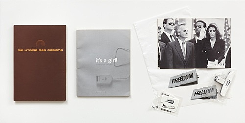 "– ""Die Utopie des Designs, Ein archäologischer Führer für alle die nicht dabei waren"", Helmut Draxler, ed., Kunstverein München, 1994 Exhibition catalogue & ""Oh boy, it's a girl! Feminismen in der Kunst"", Hedwig Saxenhuber and Astrid Wege, eds., Kunstverein München, 1994 Exhibition catalogue & Group Material (Doug Ashford, Julie Ault, Thomas Eggerer, and Jochen Klein), eds. ""Market"", Kunstverein München, 1995 Exhibition catalogue includes publication, Freedom-wallet-bag, -bumper sticker, -snack bag clip, and -coupon clipper"