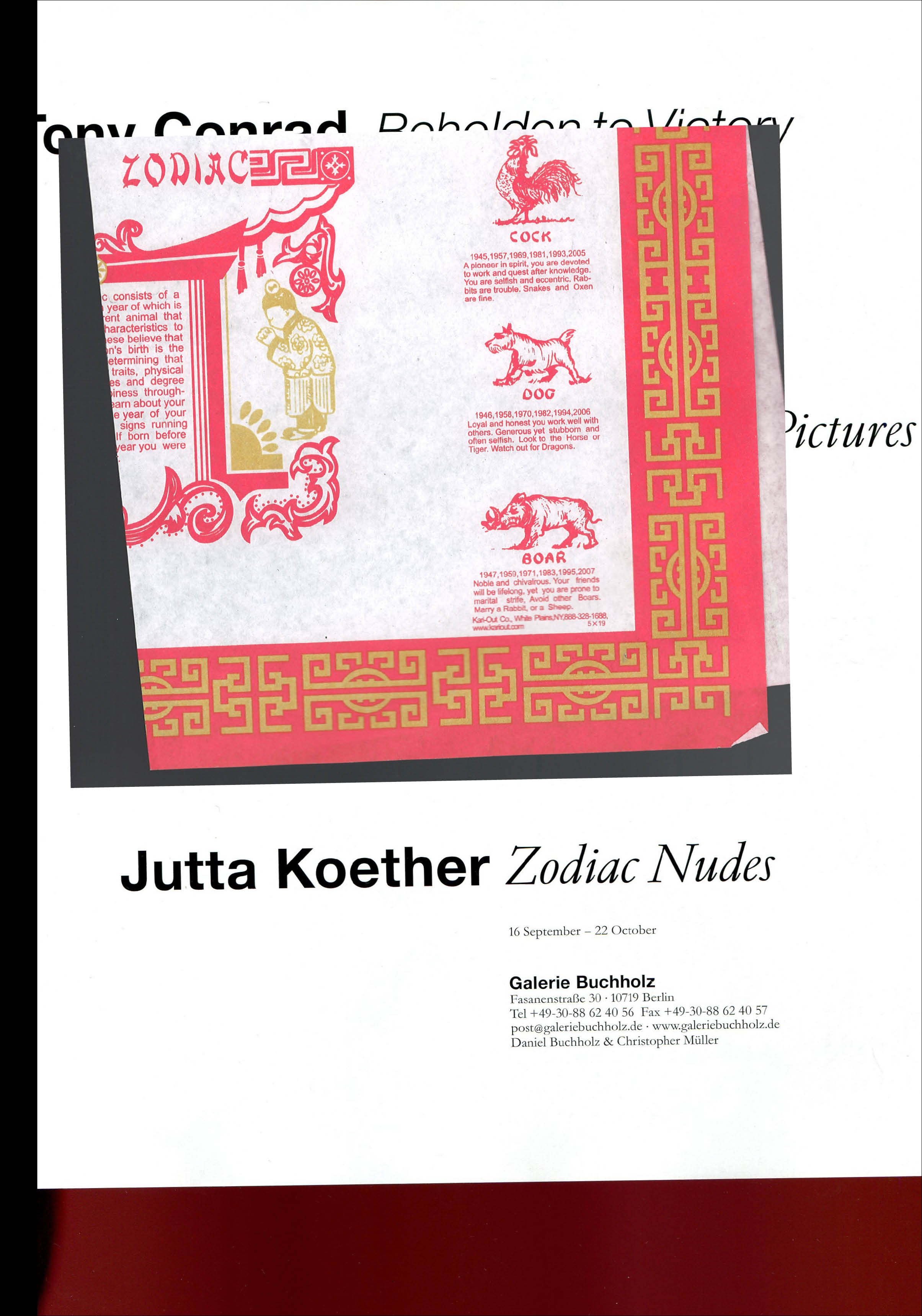 "Jutta Koether – ""Zodiac Nudes"" 2016, 212 pages, xeroxed artist book 28,3 x 20,2 cm Edition of 50 signed & numbered out of print – Xeroxed artist book published on the occasion of Jutta Koether's exhibition ""Zodiac Nudes"" at our Berlin gallery in September 2016."
