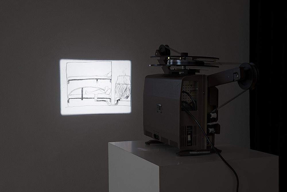 "Mark Leckey – ""Joey the Mechanical Boy Animation"", 2016 16mm film, silent, 3′ installation view Galerie Buchholz, Berlin 2017"
