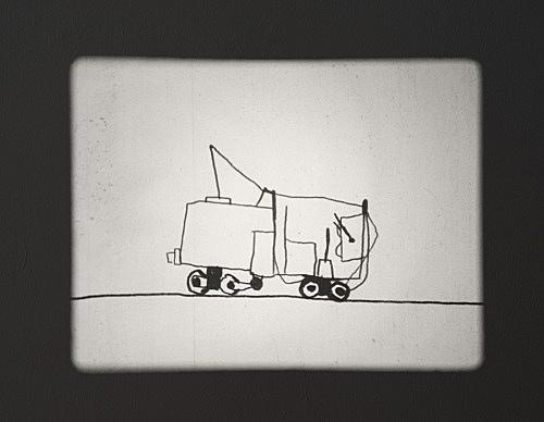 "Mark Leckey – ""Joey the Mechanical Boy Animation"", 2016 16mm film, silent, 3'"