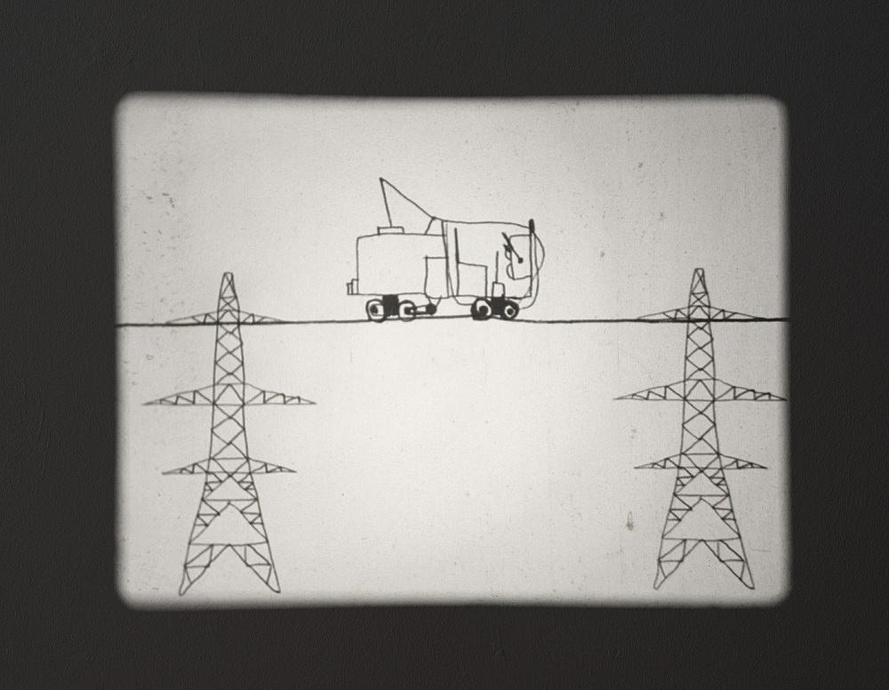 "Mark Leckey – ""Joey the Mechanical Boy Animation"", 2016 16mm film, silent, 3′"