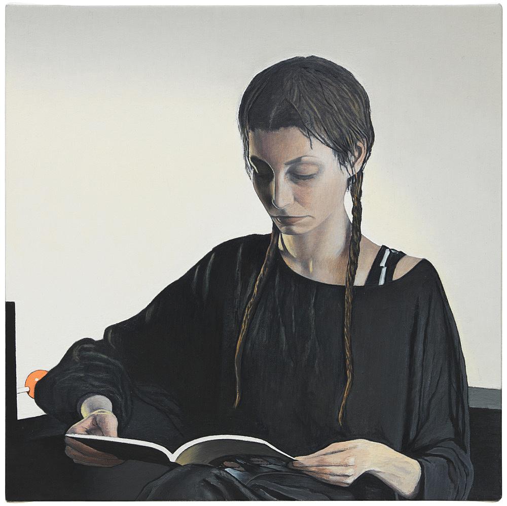 """Caleb Considine – """"Whitney"""", 2017 oil on canvas 40.8 x 40.8 cm"""