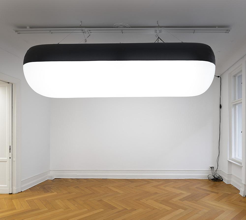 "Mark Leckey – ""Inflatable Light"", 2017 inflatable nylon, LED lights w=350, Ø100 cm installation view Galerie Buchholz, Berlin 2017"